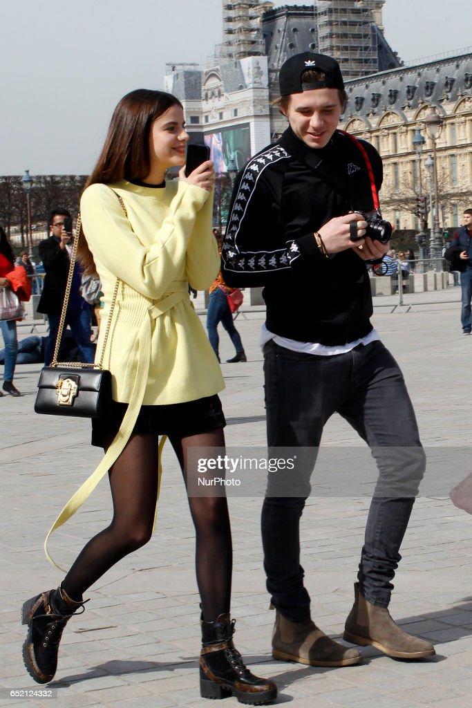 Victoria Beckham, her son Brooklyn and Sonia Ben Ammar in Paris : News Photo