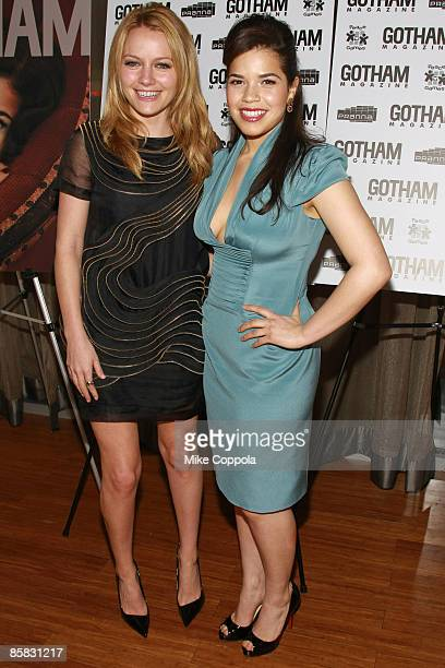 Becki Newton and America Ferrera attend a celebration for the new cover of Gotham magazine at Pranna on April 6, 2009 in New York City.