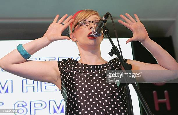 Becki Pippette of The Pipettes perform at HMV on July 17 2006 in London England