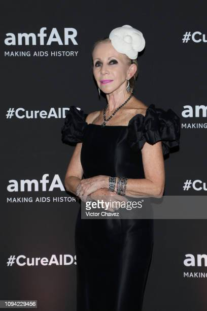 Becky Alazraki poses during the amfAR gala dinner at the house of collector and museum patron Eugenio López on February 5 2019 in Mexico City Mexico