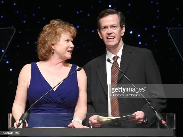 Becky Ann Baker and Dylan Baker speak onstage during 69th Writers Guild Awards New York Ceremony at Edison Ballroom on February 19 2017 in New York...