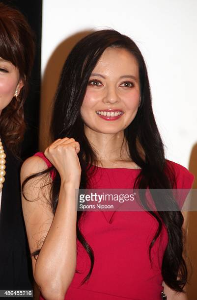 Becky attends press conference for TV Tokyo Sports program on December 19 2014 in Tokyo Japan