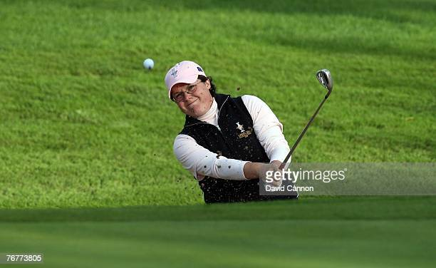 Becky Brewerton of Wales and the European Team plays her fourth shot at the fifth hole during the afternoon fourball matches of the 2007 Solheim Cup,...