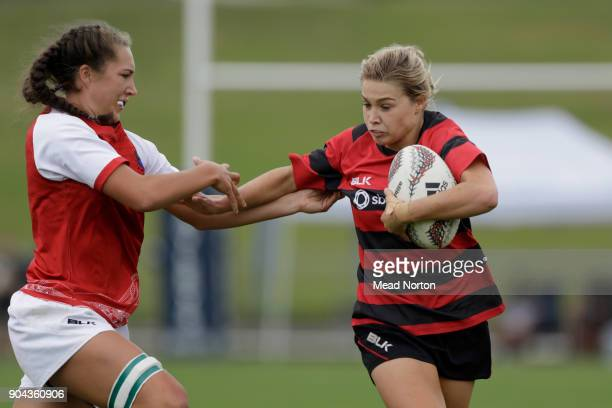 Becky Davidson during the Bayleys National Sevens match between Canterbury and Poverty Bay at Rotorua International Stadium on January 13 2018 in...