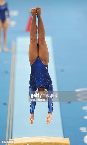 Becky Downie of Great Britain on the vault during qualification for the women's artistic gymnastics event held at the National Indoor Stadium during...