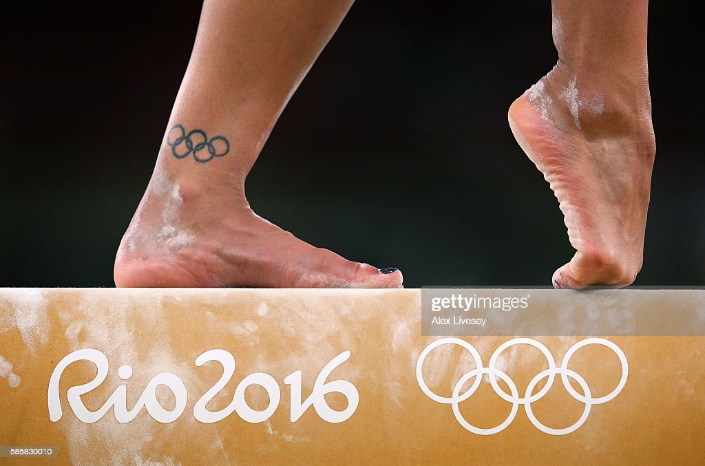 Becky Downie of Great Britain performs on the beam during a Gymnastics training session at Rio Olympic Arena on August 4, 2016 in Rio de Janeiro, Brazil.