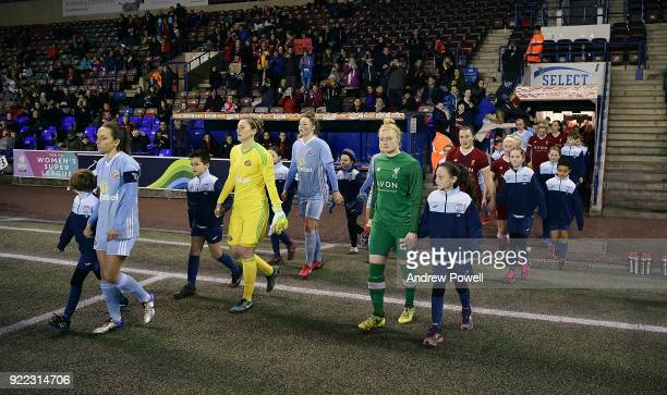 Becky Flaherty of Liverpool Ladies leading the team out before the FA WSL match between Liverpool Ladies and Sunderland Ladies at Select Security...