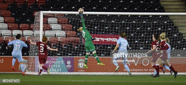 Becky Flaherty of Liverpool Ladies makes a save during the FA WSL match between Liverpool Ladies and Sunderland Ladies at Select Security Stadium on...