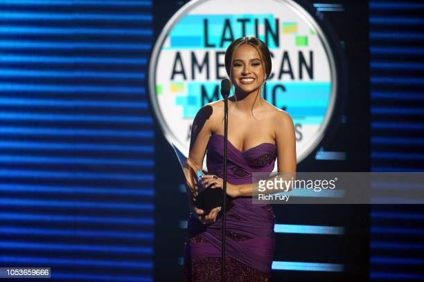 Becky G accepts the Favorite Female Artist award onstage during the 2018 Latin American Music Awards at Dolby Theatre on October 25 2018 in Hollywood...