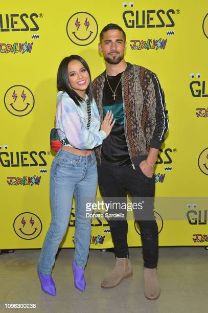 Becky G and a guest attend GUESS x J Balvin launch party on February 8 2019 in Los Angeles California