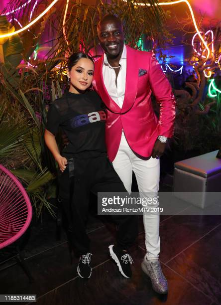 Becky G and Akon attends the MTV EMAs 2019 after party at FIBES Conference and Exhibition Centre on November 03 2019 in Seville Spain