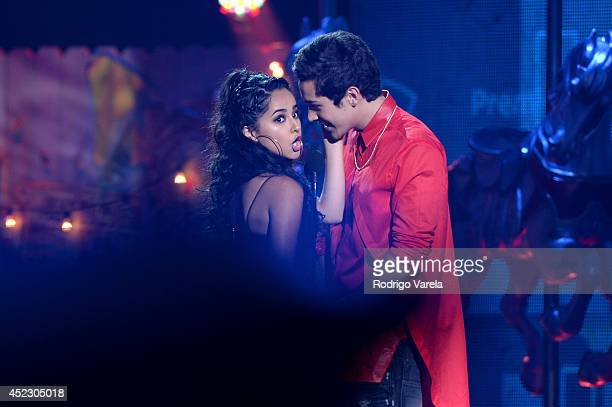 Becky G and Austin Mahone onstage during the Premios Juventud 2014 at The BankUnited Center on July 17 2014 in Coral Gables Florida