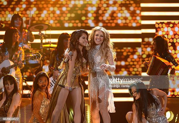 Becky G and Thalia perform onstage at the 2015 Premios Lo Nuestros Awards at American Airlines Arena on February 19 2015 in Miami Florida