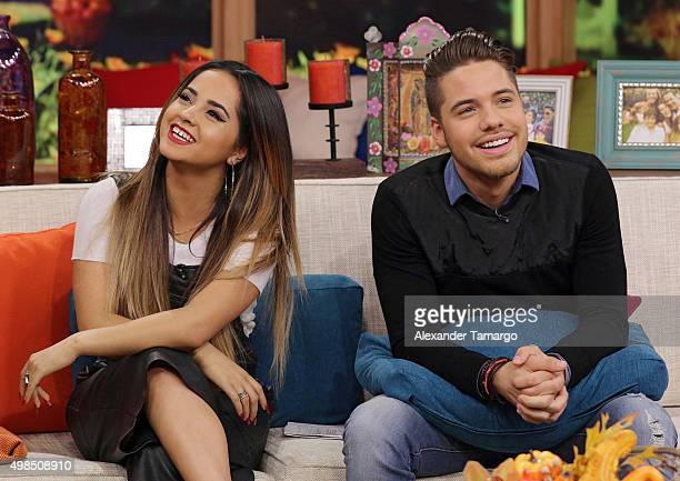 Becky G and William Valdes are seen on the set of 'Despierta America' at Univision Studios on November 23 2015 in Miami Florida