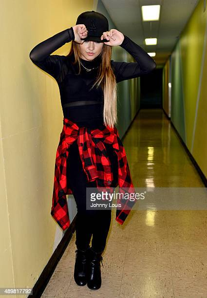 """Becky G backstage after performing onstage during J Balvin Mi Familia"""" tour at James L Knight Center on September 23, 2015 in Miami, Florida."""