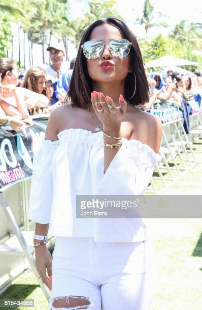 Becky G backstage during the Y100 MackAPoolooza at Fontainebleau Miami Beach on July 15 2017 in Miami Beach Florida