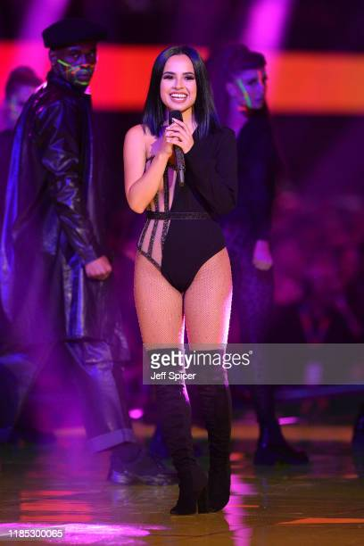Becky G performs on stage during the MTV EMAs 2019 at FIBES Conference and Exhibition Centre on November 03 2019 in Seville Spain