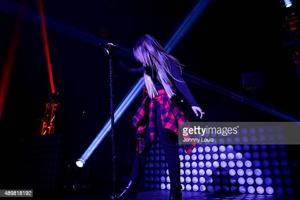 """Becky G performs onstage during J Balvin Mi Familia"""" tour at James L Knight Center on September 23, 2015 in Miami, Florida."""