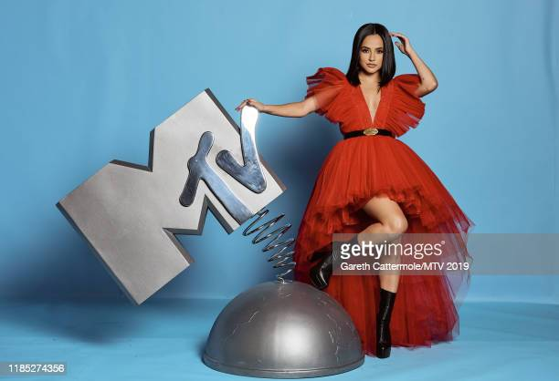 Becky G poses at the MTV EMAs 2019 studio at FIBES Conference and Exhibition Centre on November 03 2019 in Seville Spain
