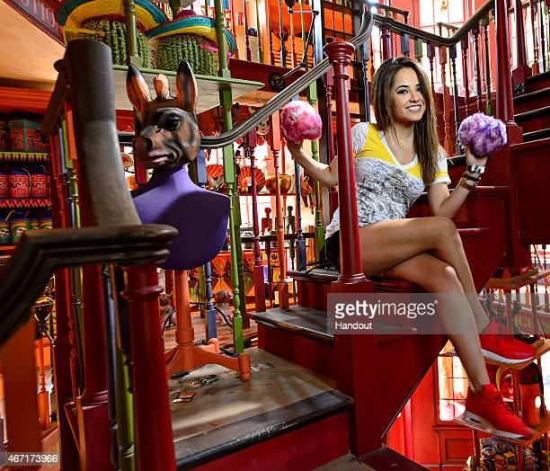 Becky G visits Diagon Alley in The Wizarding World of Harry Potter at Universal Orlando on March 20 2015 in Orlando Florida