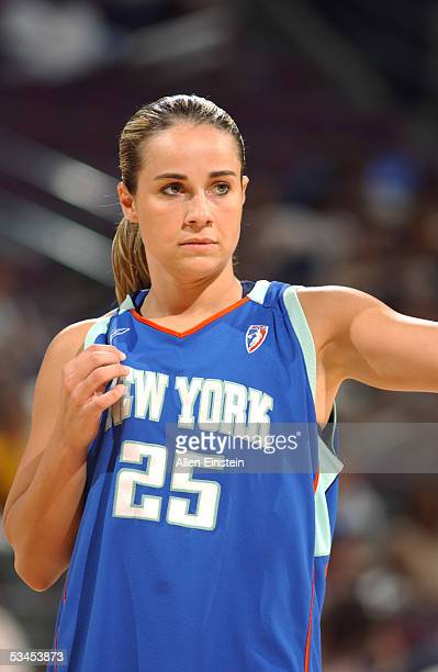 Becky Hammon of the New York Liberty looks on during the game against the Detroit Shock at the Palace of Auburn Hills on August 7 2005 in Auburn...