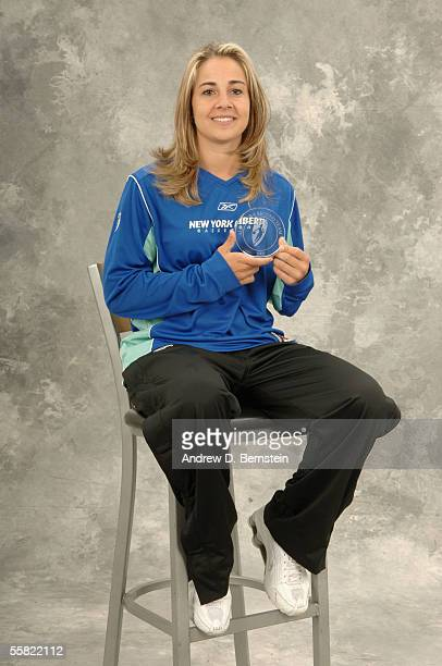 Becky Hammon of the New York Liberty poses for a portrait after being named to the AllWNBA second team before the game between the Sacramento...