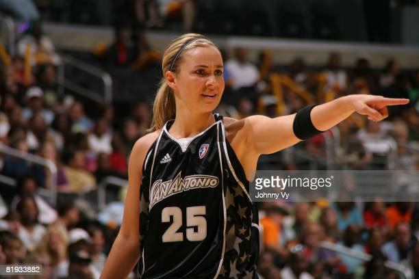 Becky Hammon of the San Antonio Silver Stars directs a teammate during the game against the Los Angeles Sparks on July 14 2008 at Staples Center in...