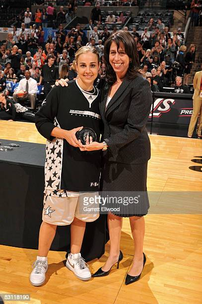 Becky Hammon of the San Antonio Silver Stars is presented 2008 All WNBA First Team by Donna Orender WNBA President prior to Game Two of the WNBA...