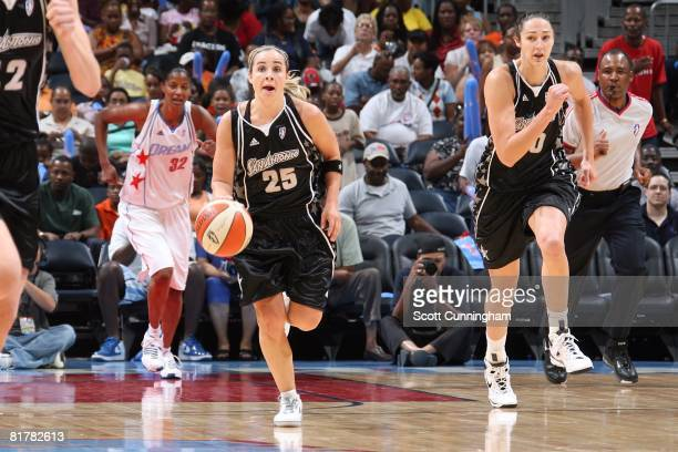 Becky Hammon of the San Antonio Silver Stars pushes the ball upcourt against the Atlanta Dream during the WNBA game on June 18 2008 at Philips Arena...