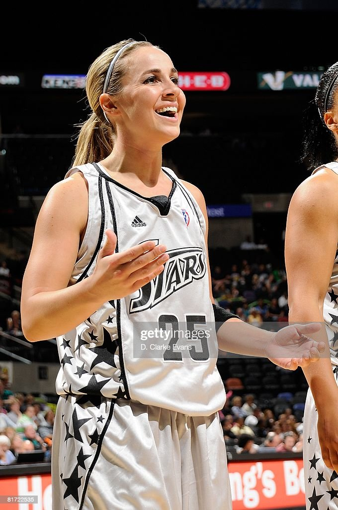 Becky Hammon #25 of the San Antonio Silver Stars reacts during the WNBA game against the Seattle Storm on June 13, 2008 at the AT&T Center in San Antonio, Texas. The Silver Stars won 74-69.