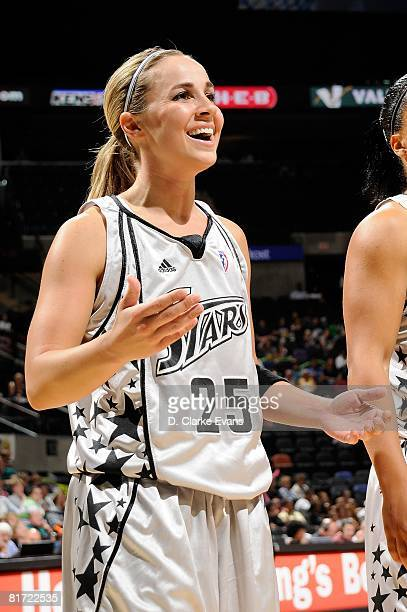 Becky Hammon of the San Antonio Silver Stars reacts during the WNBA game against the Seattle Storm on June 13 2008 at the ATT Center in San Antonio...