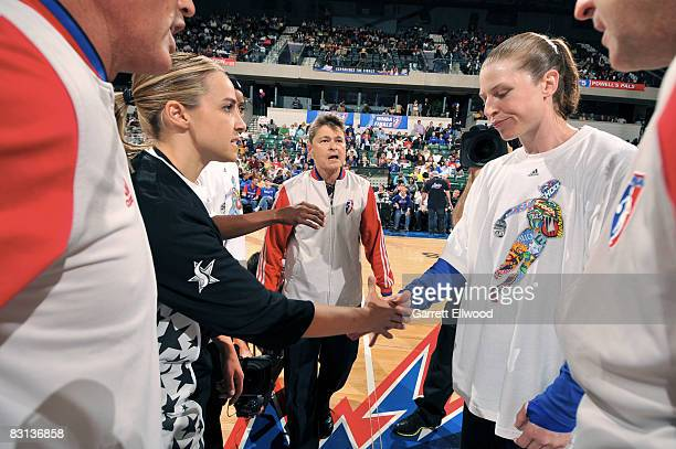 Becky Hammon of the San Antonio Silver Stars shakes hands with Katie Smith of the Detroit Shock prior to Game Three of the WNBA Finals on October 5...