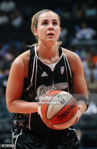 Becky Hammon of the San Antonio Silver Stars shoots a free throw against the Atlanta Dream during the WNBA game on June 18 2008 at Philips Arena in...