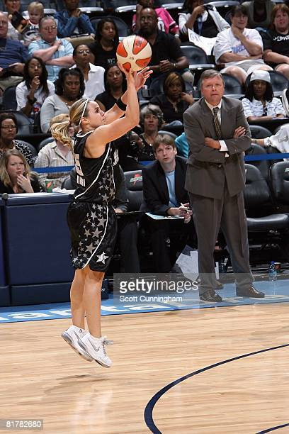 Becky Hammon of the San Antonio Silver Stars shoots a threepointer against the Atlanta Dream during the WNBA game on June 18 2008 at Philips Arena in...