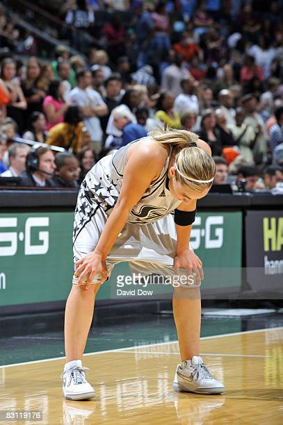 Becky Hammon of the San Antonio Silver Stars shows disappoinment against the Detroit Shock during Game Two of the WNBA Finals on October 3 2008 at...