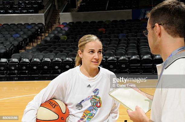 Becky Hammon of the San Antonio Silver Stars speaks during media availability after Game One of the WNBA Finals on October 2 2008 at ATT Center in...