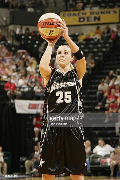 Becky Hammon of the San Antonio Silver Stars takes a jump shot against the Indiana Fever during the game at Conseco Fieldhouse on June 15 2008 in...