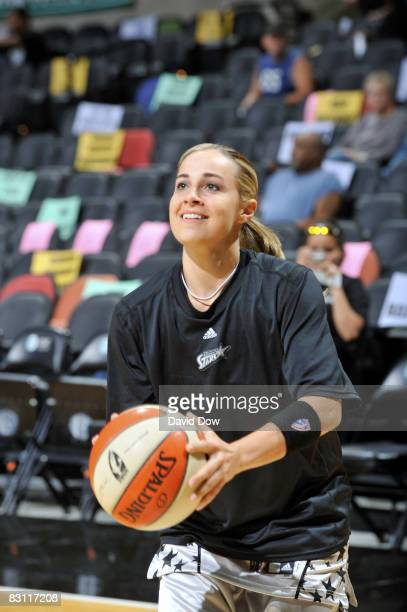 Becky Hammon of the San Antonio Silver Stars warms up prior to Game Two of the WNBA Finals against the Detroit Shock on October 3 2008 at ATT Center...
