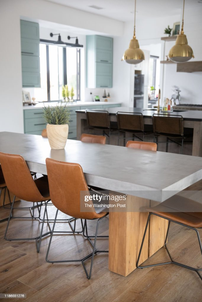 Becky Higgins Solid Concrete And Wood Dining Table Is The News Photo Getty Images