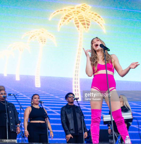 Becky Hill performs live during Reading Festival 2021 at Richfield Avenue on August 28, 2021 in Reading, England.
