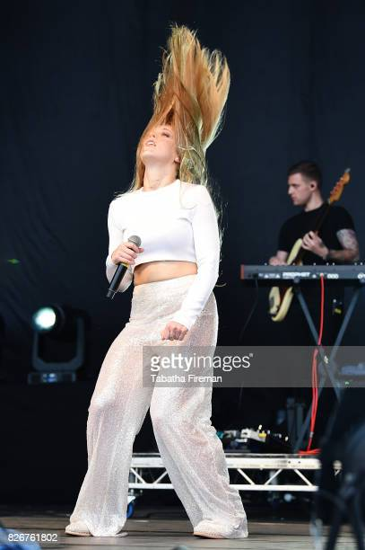 Becky Hill performs on stage at Brighton Pride Festival in Preston Park on August 5 2017 in Brighton England