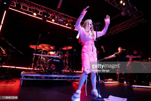 Becky Hill performs on stage at Stylus on March 19, 2019 in Leeds, England.
