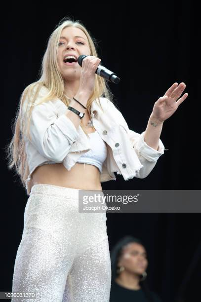 Becky Hill performs on stage on Day 1 of Fusion Festival 2018 at Otterspool Parade on September 1 2018 in Liverpool England