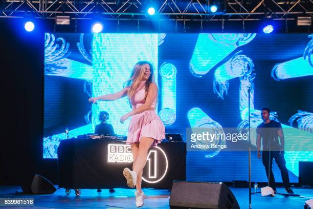 Becky Hill performs on the BBC Radio 1 Dance stage during day 3 at Leeds Festival at Bramhall Park on August 27 2017 in Leeds England