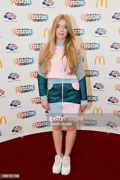 Becky Hill poses backstage at Fusion Festival at Otterspool Parade on September 3 2016 in Liverpool England