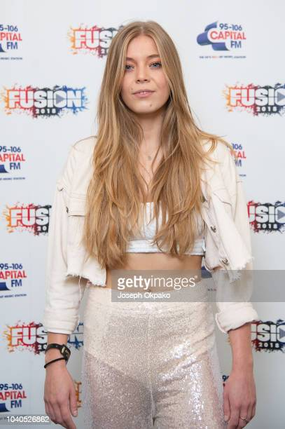Becky Hill poses backstage on Day 1 of Fusion Festival 2018 at Otterspool Parade on September 1 2018 in Liverpool England