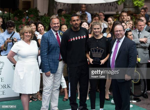 Becky Hubbard Nick Kyrgios and Eugenie Bouchard pose for a photo during the 2017 Lotte New York Palace Invitational at Lotte New York Palace on...