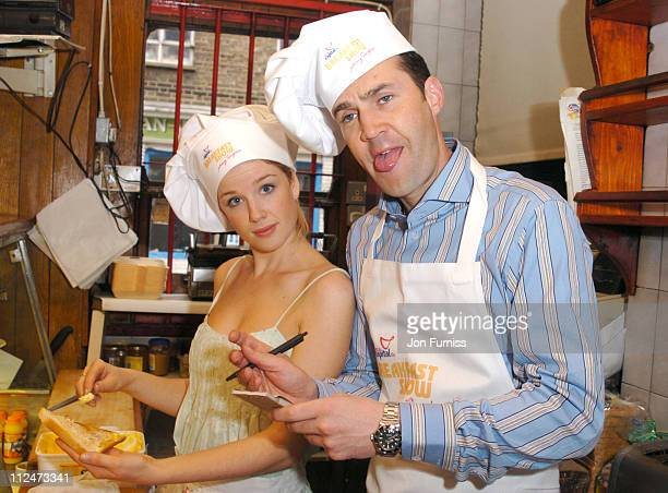 Becky Jago and Johnny Vaughan during The Capital Radio Breakfast Show with Johnny Vaughan Photocall at Star Cafe in London Great Britain