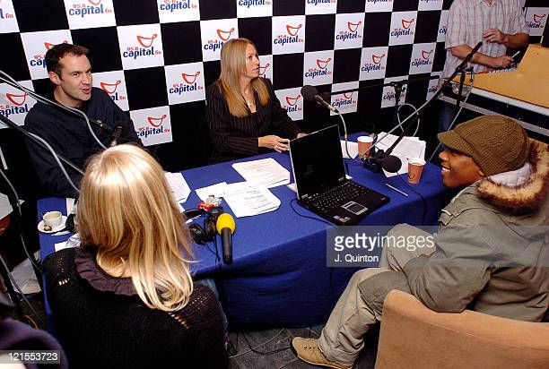 Becky Jago Johnny Vaughan and Lemar during Lemar Live on Capital Radio Breakfast Show at AOH Cafe in London Great Britain