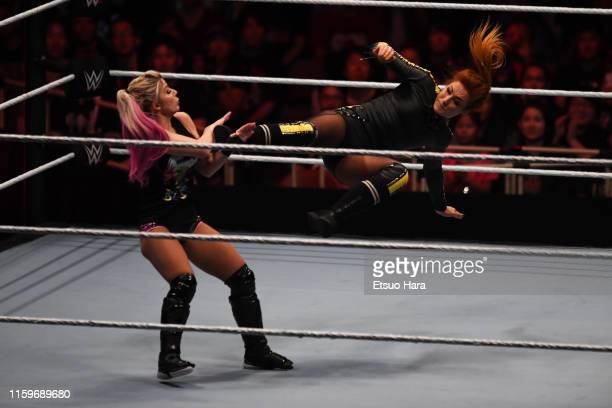 Becky Lynch and Alexa Bliss compete during the WWE Live Tokyo at Ryogoku Kokugikan on June 29 2019 in Tokyo Japan